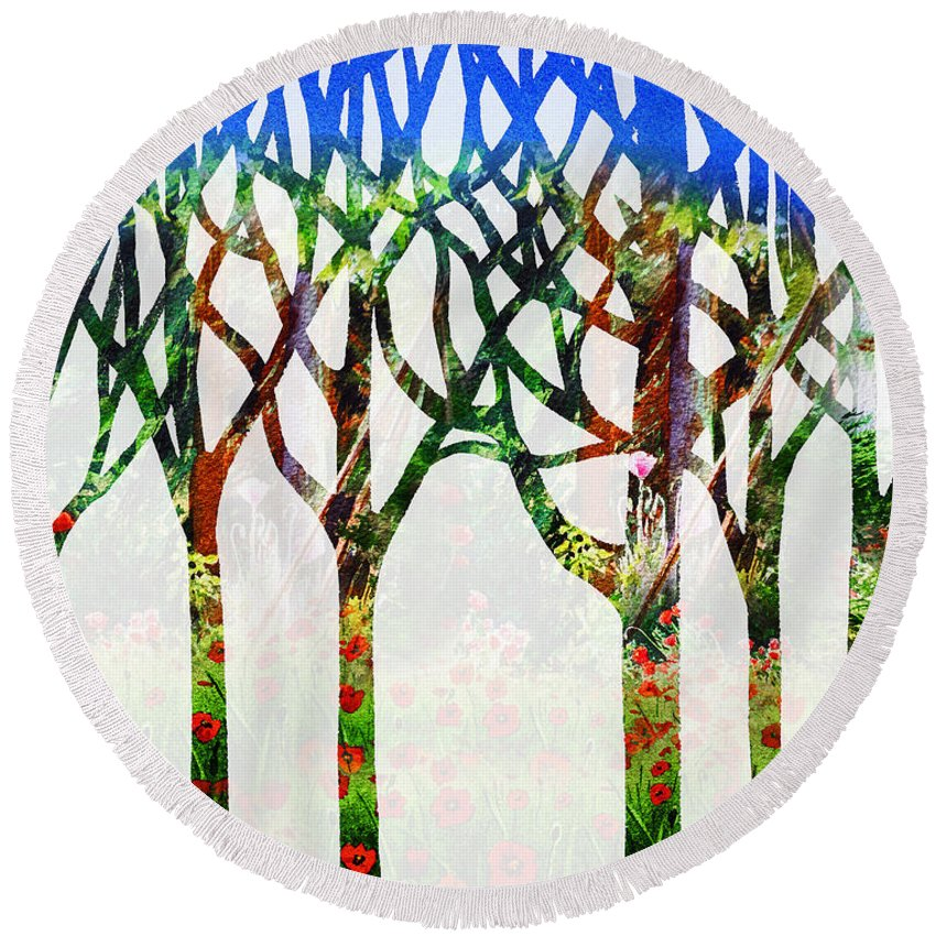 Forest Round Beach Towel featuring the painting Watercolor Forest Silhouette Summer by Irina Sztukowski