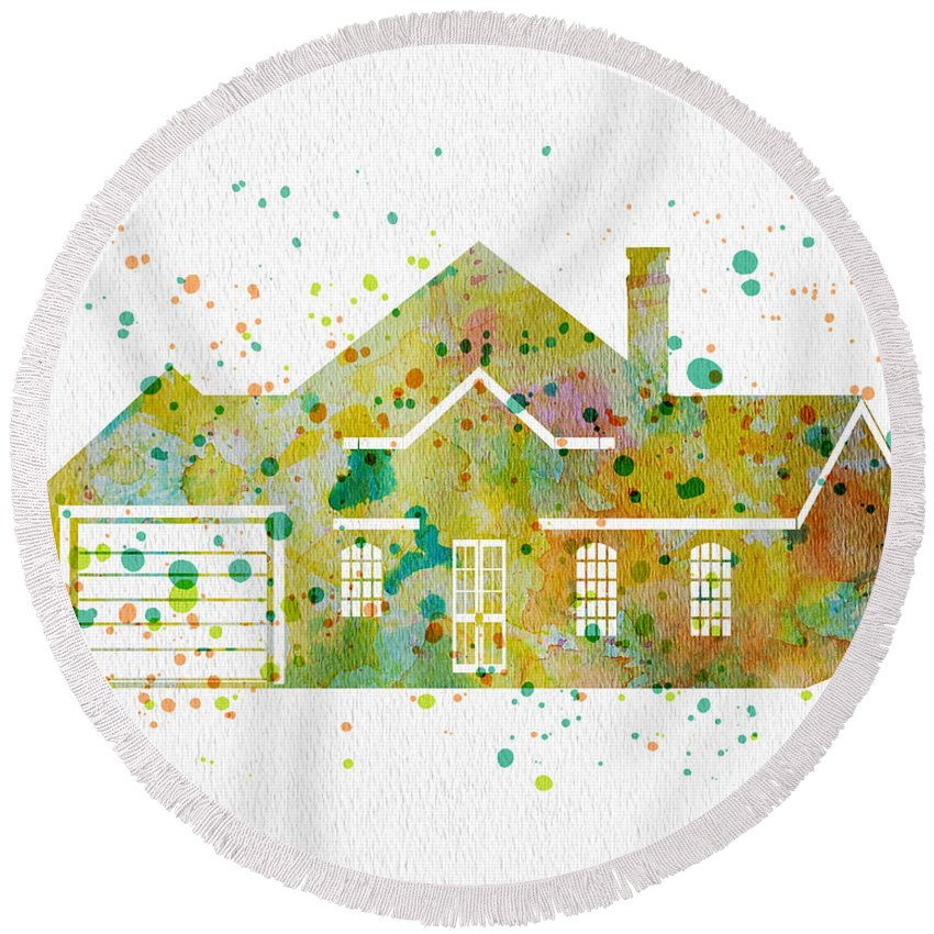 Watercolor Round Beach Towel featuring the painting Watercolor House by Oiyee At Oystudio