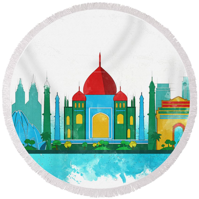 Poster Round Beach Towel featuring the digital art Watercolor Illustration Of Delhi by Don Kuing