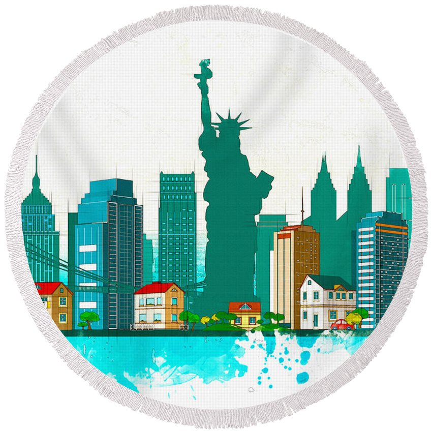 Poster Round Beach Towel featuring the digital art Watercolor Illustration Of New York by Don Kuing