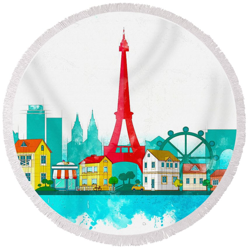 Poster Round Beach Towel featuring the digital art Watercolor Illustration Of Paris by Don Kuing