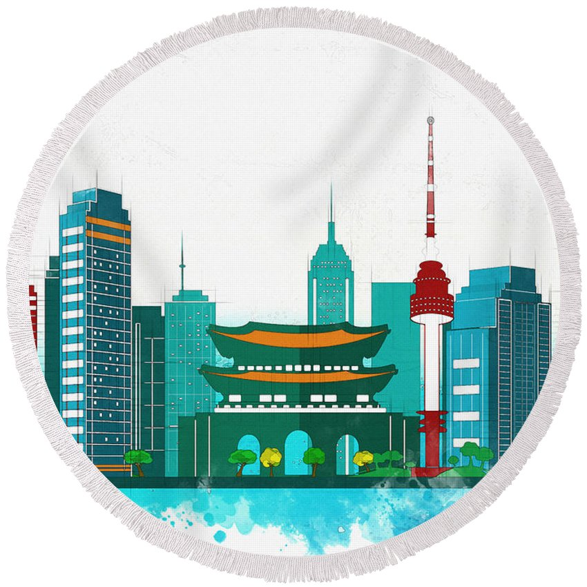 Poster Round Beach Towel featuring the digital art Watercolor Illustration Of Seoul by Don Kuing