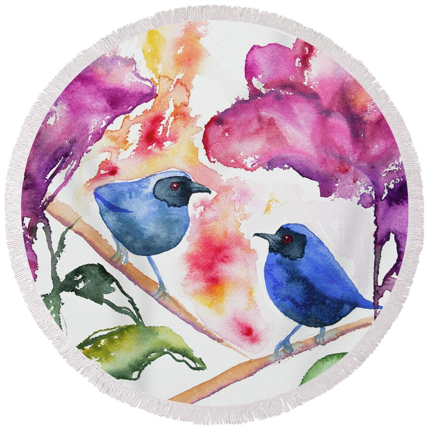 Masked Flowerpiercer Round Beach Towel featuring the painting Watercolor - Masked Flowerpiercers With Flowers by Cascade Colors