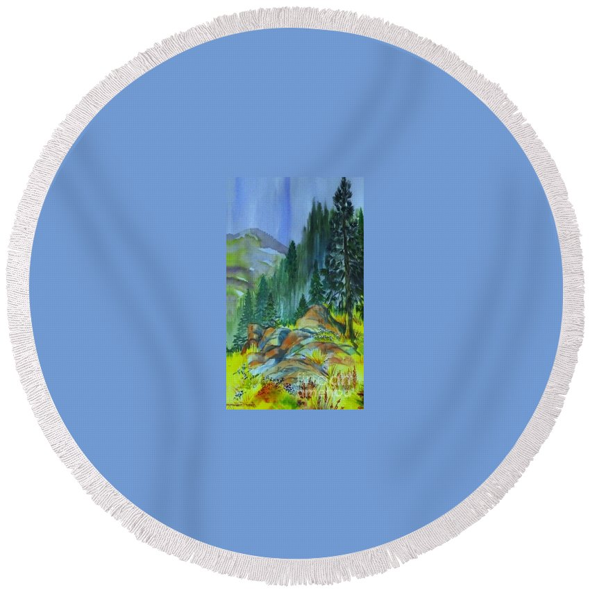Watercolor Of Forest In Mountains Round Beach Towel featuring the painting Watercolor of Mountain Forest by Annie Gibbons