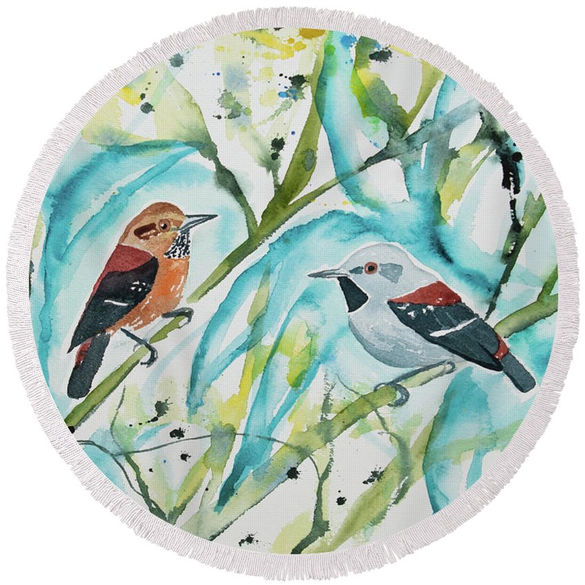 Ornate Antwren Round Beach Towel featuring the painting Watercolor - Ornate Antwren In The Bamboo by Cascade Colors