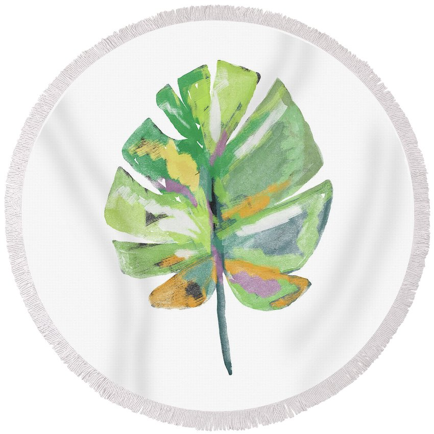 Leaf Round Beach Towel featuring the mixed media Watercolor Palm Leaf- Art by Linda Woods by Linda Woods