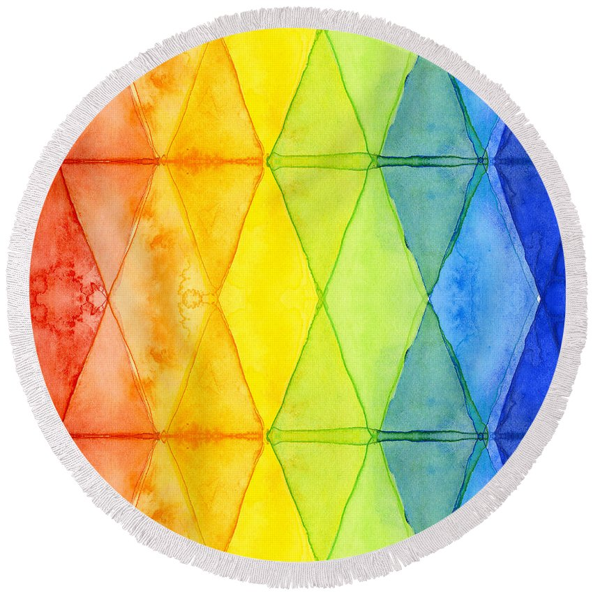Triangles Round Beach Towel featuring the painting Watercolor Rainbow Pattern Geometric Shapes Triangles by Olga Shvartsur