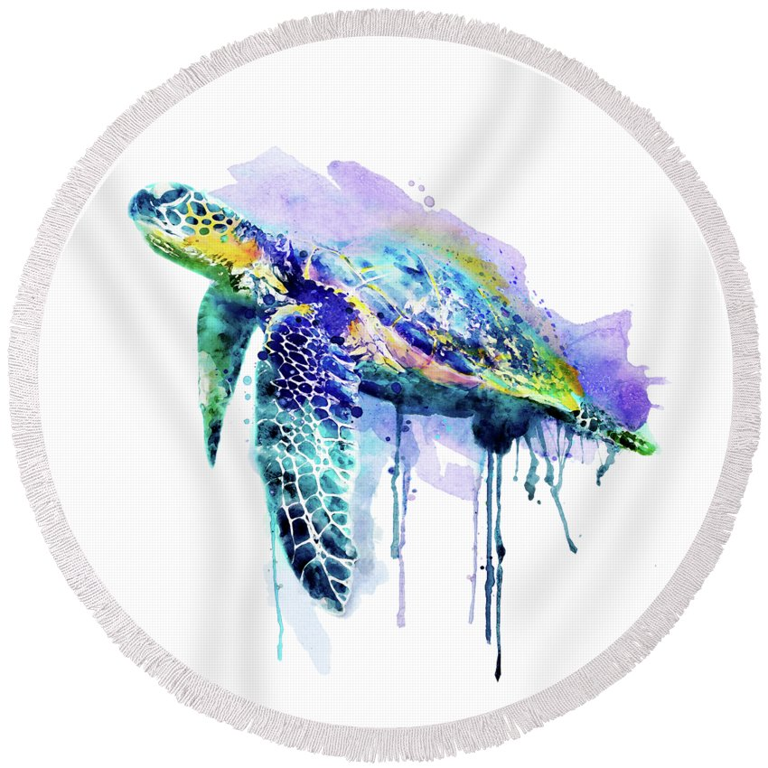 Sea Turtle Round Beach Towel featuring the painting Watercolor Sea Turtle by Marian Voicu