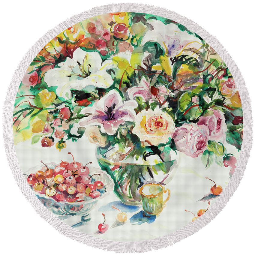 Floral Round Beach Towel featuring the painting Watercolor Series 1 by Ingrid Dohm