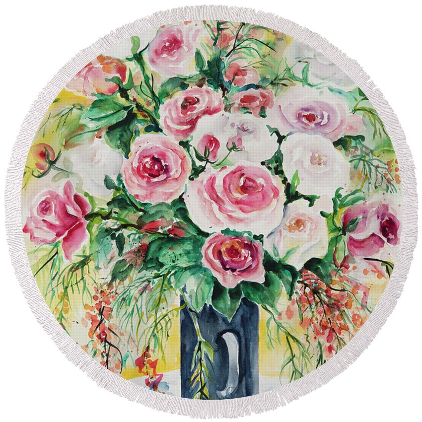 Floral Round Beach Towel featuring the painting Watercolor Series 10 by Ingrid Dohm