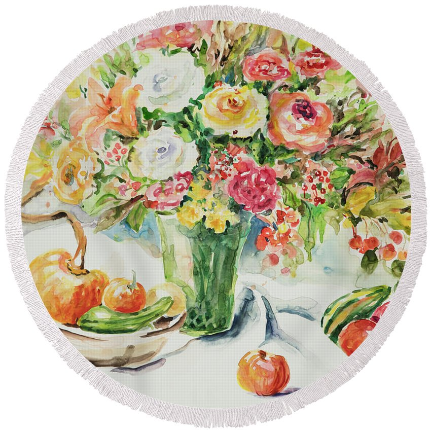 Floral Round Beach Towel featuring the painting Watercolor Series 11 by Ingrid Dohm