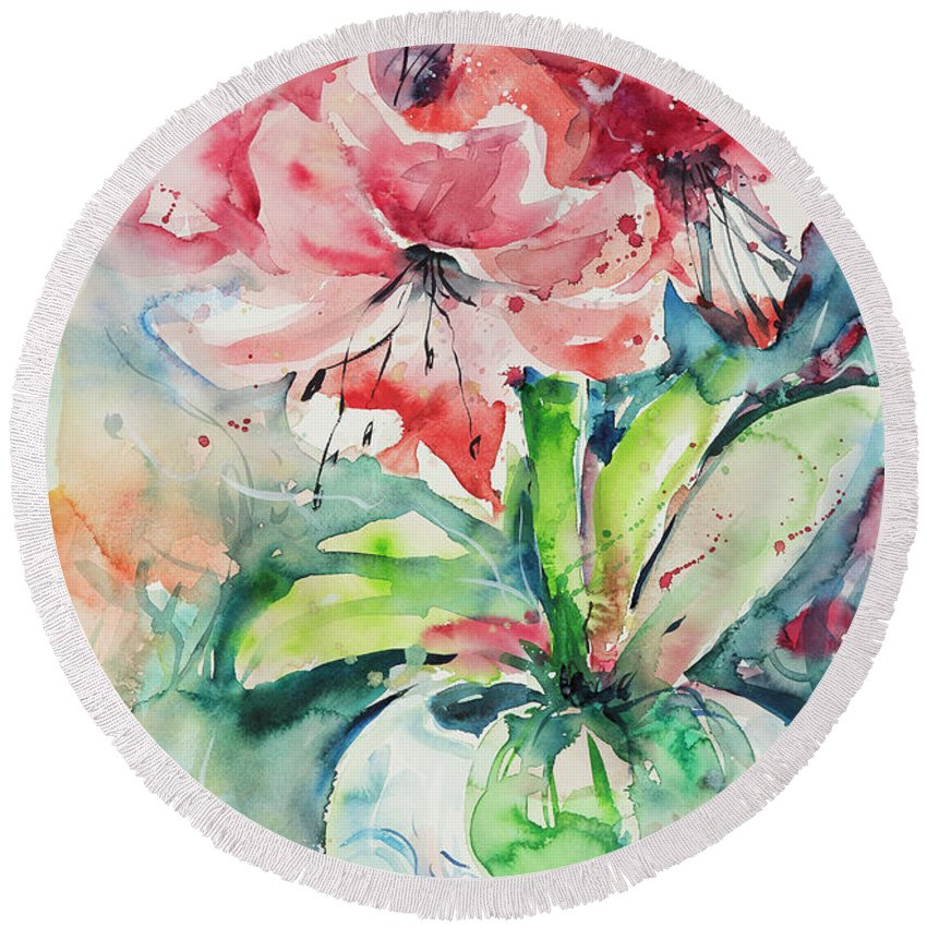Flowers Round Beach Towel featuring the painting Watercolor Series 139 by Ingrid Dohm