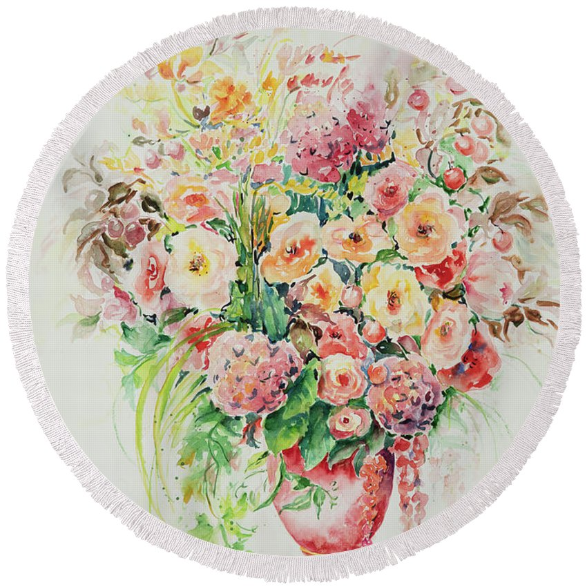 Floral Round Beach Towel featuring the painting Watercolor Series 14 by Ingrid Dohm