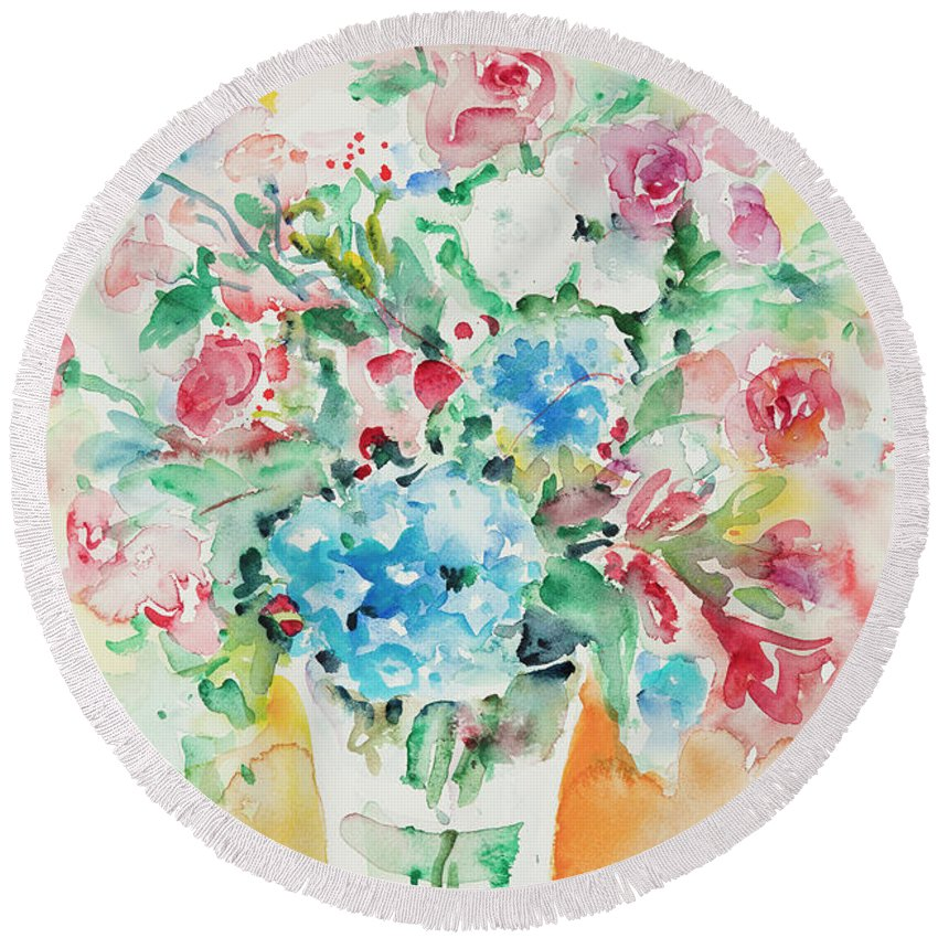 Flowers Round Beach Towel featuring the painting Watercolor Series 140 by Ingrid Dohm