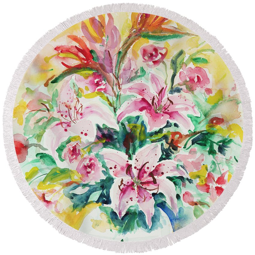 Flowers Round Beach Towel featuring the painting Watercolor Series 141 by Ingrid Dohm