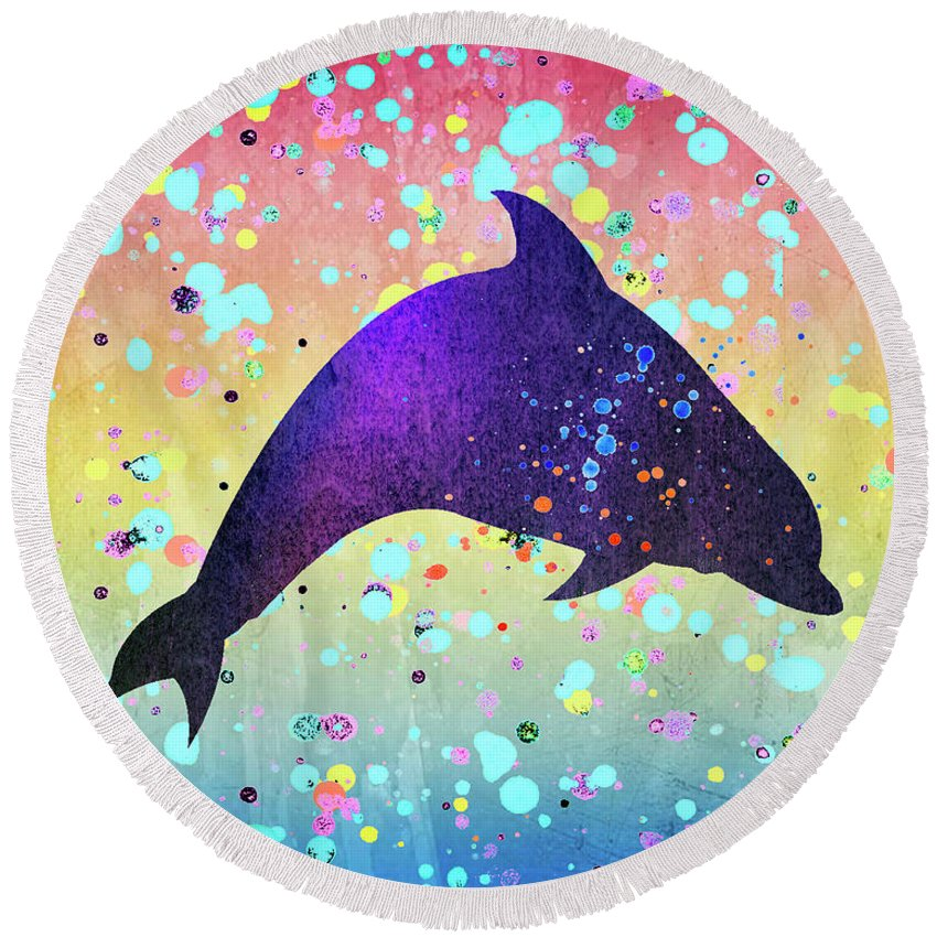 Dolphin Round Beach Towel featuring the photograph Watercolor Silhouette - Dolphin Porpoise by Donald Erickson