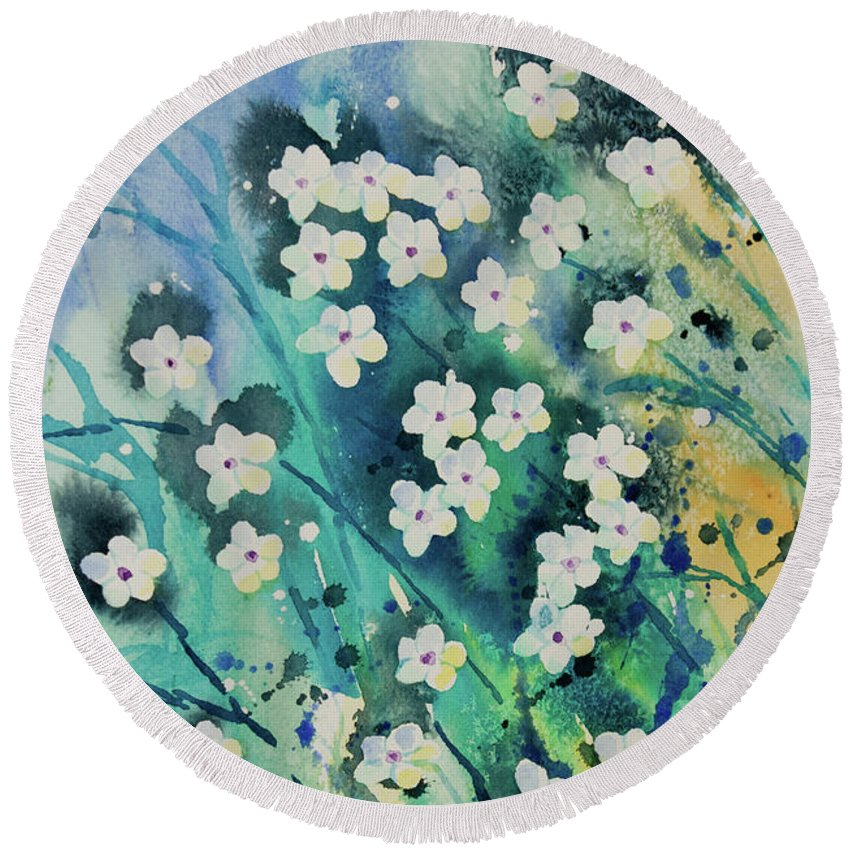 Watercolor Small White Flowers With Aqua Blue Background Round