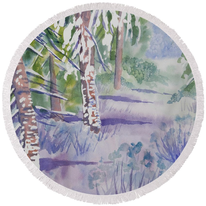 Path Round Beach Towel featuring the painting Watercolor - Snowy Winter Path by Cascade Colors