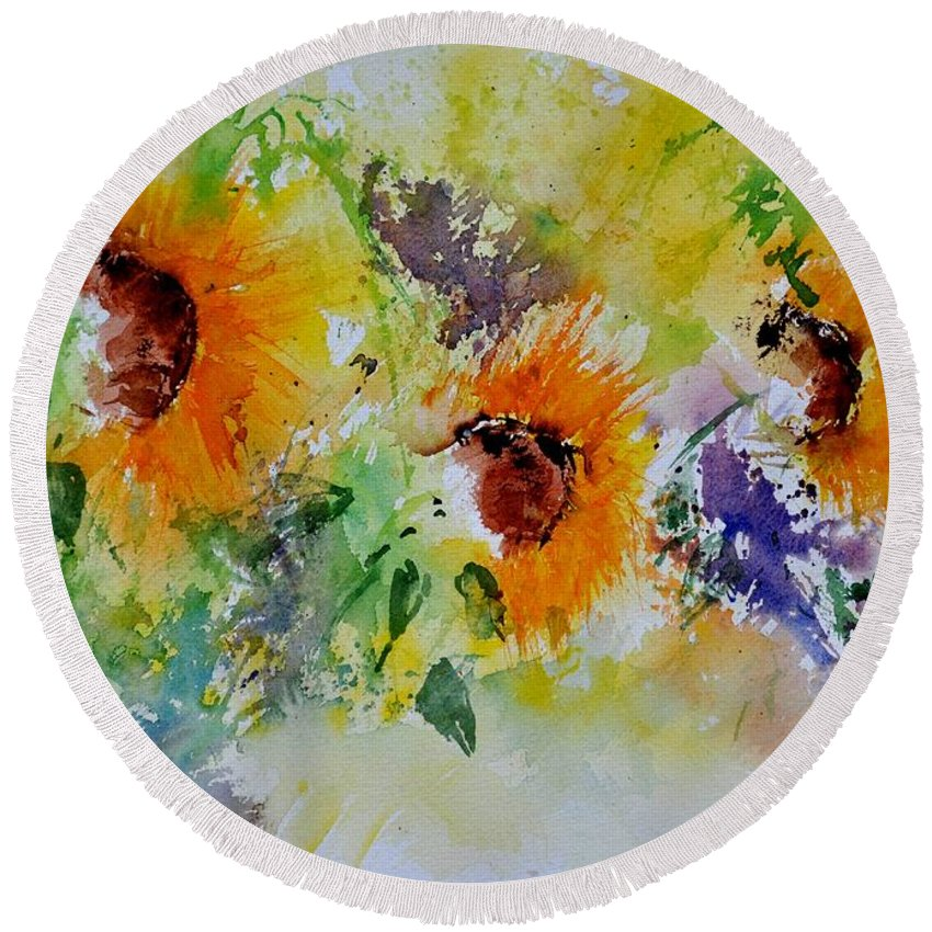 Flowers Round Beach Towel featuring the painting Watercolor Sunflowers by Pol Ledent