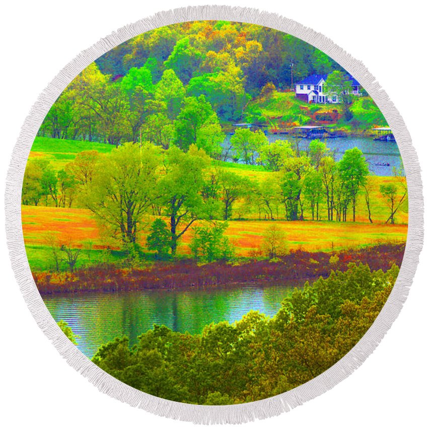 Landscape Round Beach Towel featuring the photograph Watercolor View by Ed Ostrander