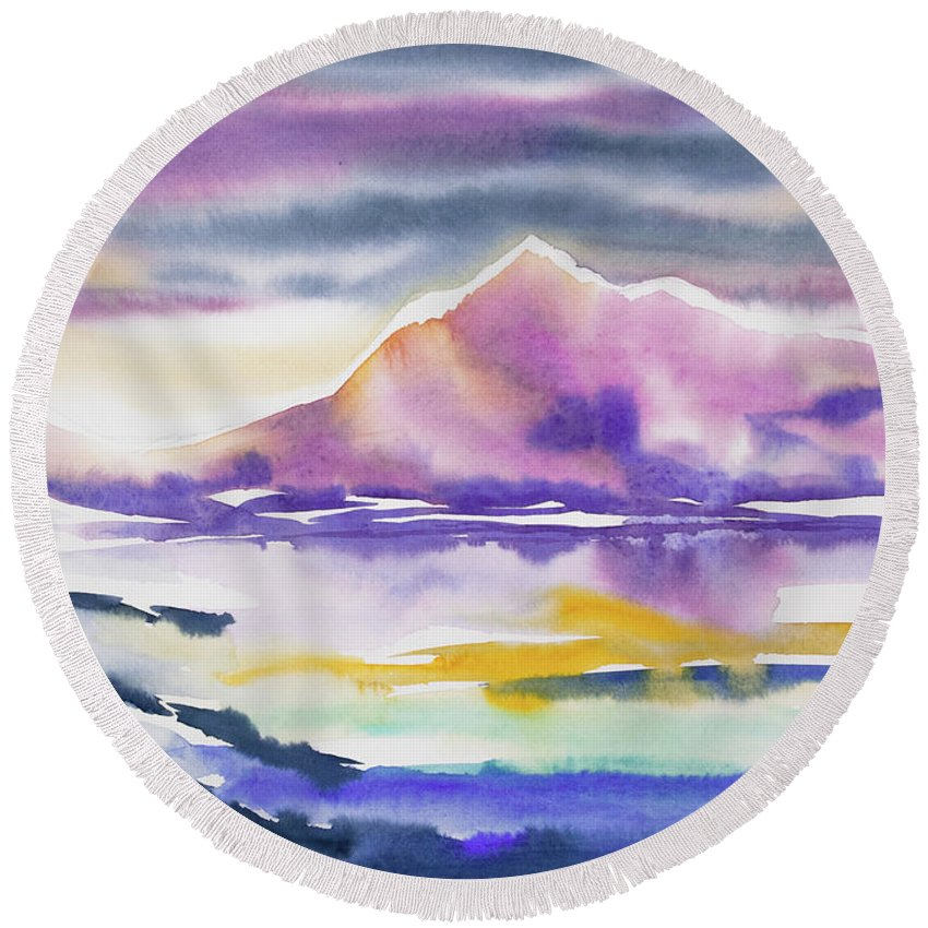 Winter Round Beach Towel featuring the painting Watercolor - Winter Arctic Impression by Cascade Colors
