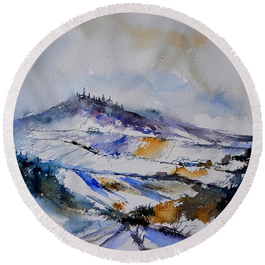 Landscape Round Beach Towel featuring the painting Watercolor winter in Nassogne by Pol Ledent