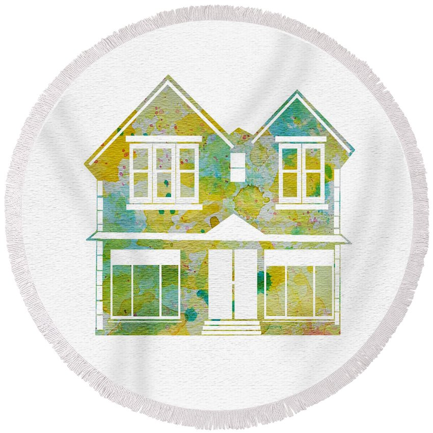 Watercolor Round Beach Towel featuring the painting Watercolour House by Oiyee At Oystudio