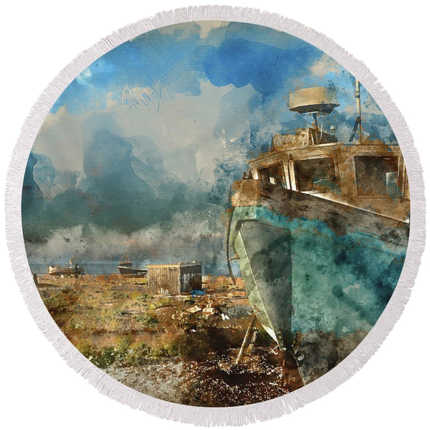 Landscape Round Beach Towel featuring the photograph Watercolour Painting Of Abandoned Fishing Boat On Beach Landscap by Matthew Gibson