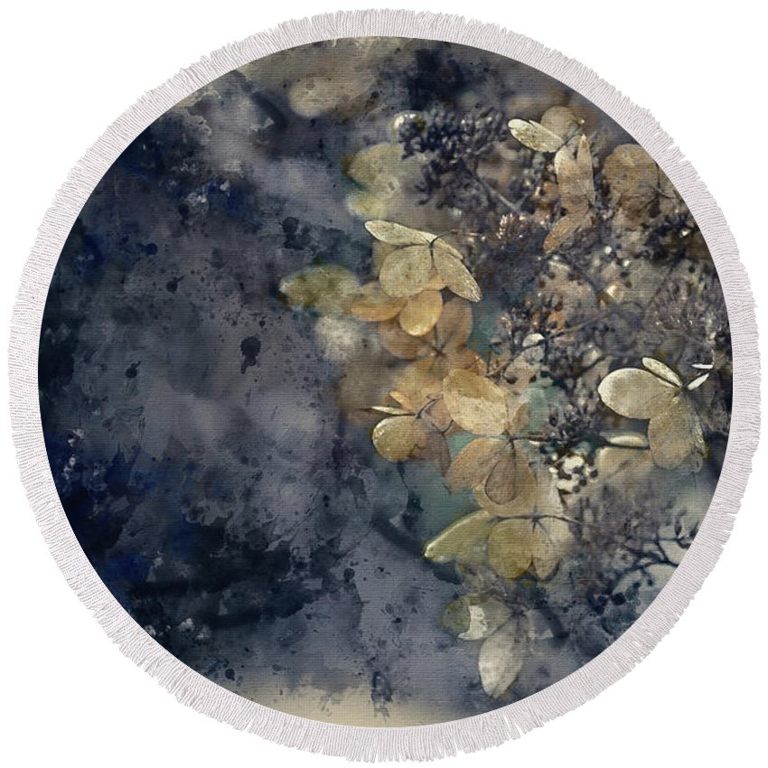 Arrangement Round Beach Towel featuring the photograph Watercolour Painting Of Stunning Dried Hydrangea Hortensia Flowe by Matthew Gibson
