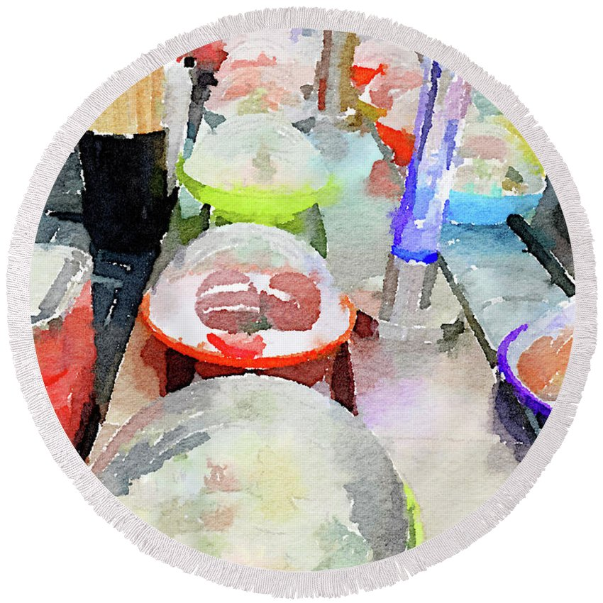Sushi Round Beach Towel featuring the photograph Watercolour Painting Of Sushi Dishes On The Belt by Anita Van Den Broek