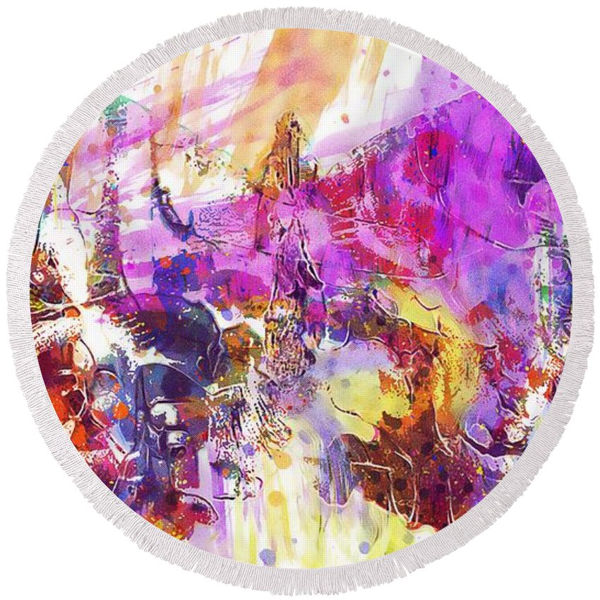 Watercolour Round Beach Towel featuring the digital art Watercolour Watercolor Paint Ink by PixBreak Art
