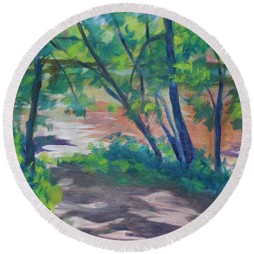 Landscape Round Beach Towel featuring the painting Watercress Beach on the Current River  by Jan Bennicoff