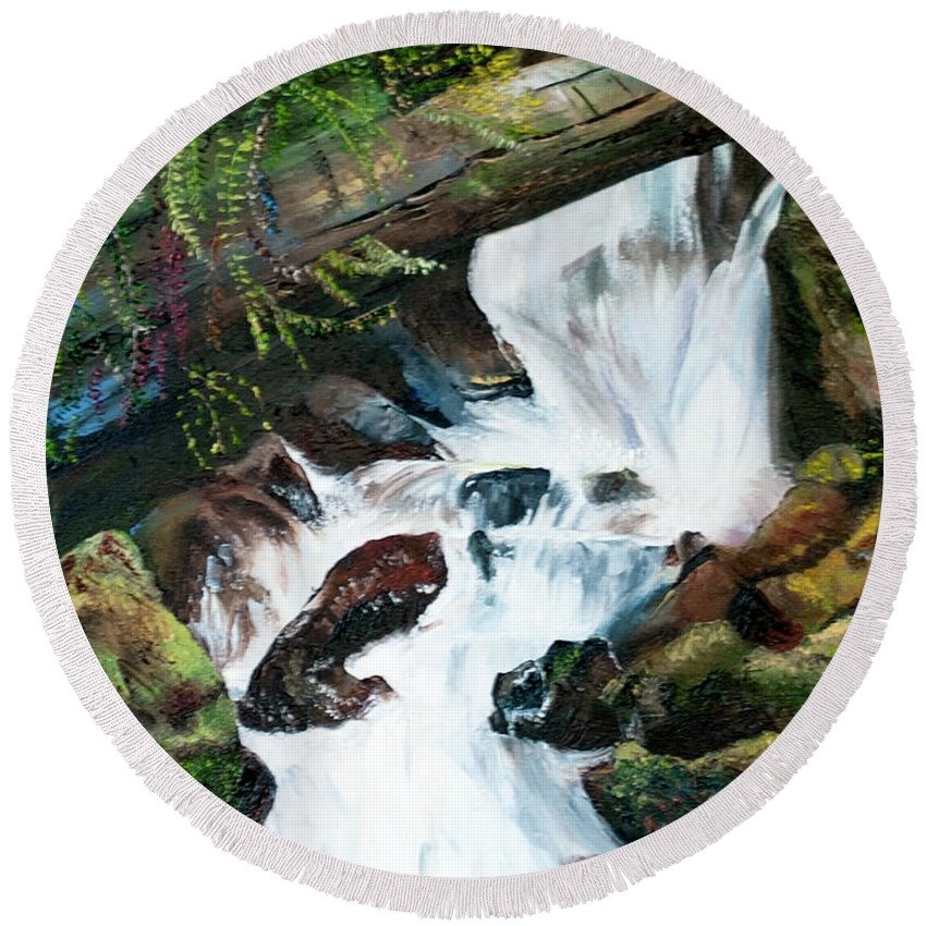 Waterfall Round Beach Towel featuring the painting Waterfall 1 by Terry R MacDonald