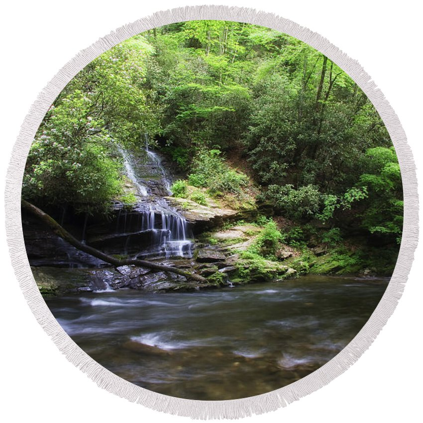 Tom Round Beach Towel featuring the photograph Waterfall And Mountain Creek by Jill Lang
