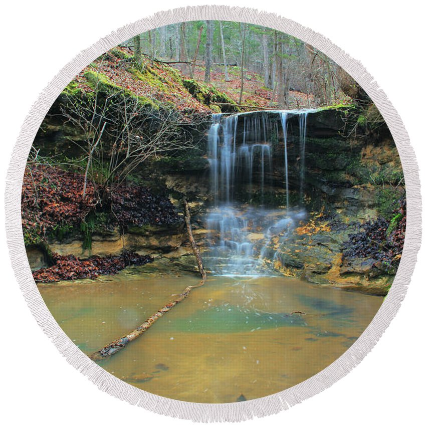 Waterfall Round Beach Towel featuring the photograph Waterfall At Don Robinson State Park 1 by Greg Matchick