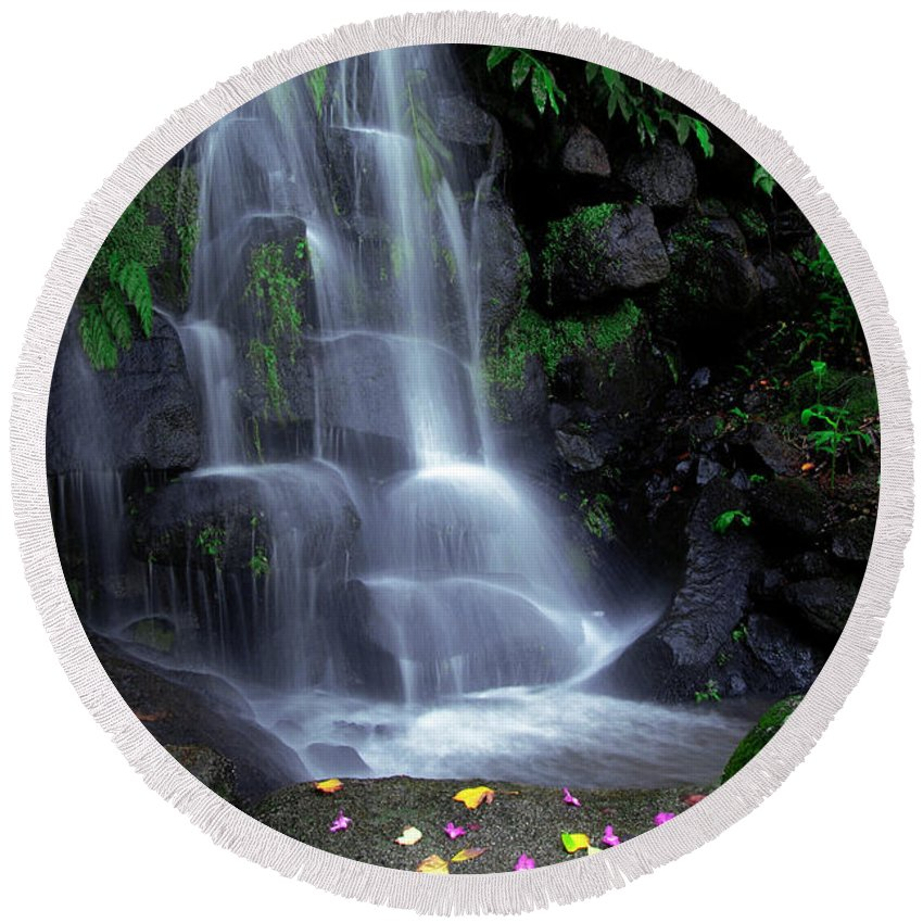 Autumn Round Beach Towel featuring the photograph Waterfall by Carlos Caetano