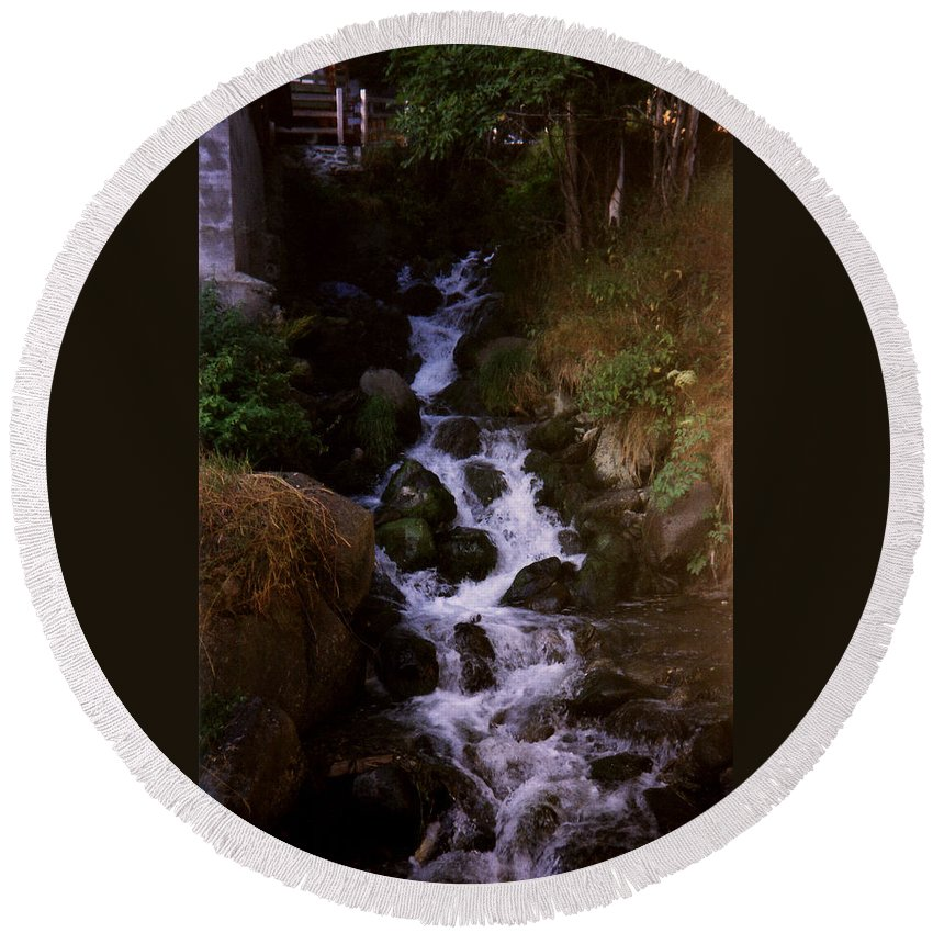 Waterfall Round Beach Towel featuring the photograph Waterfall by Catt Kyriacou