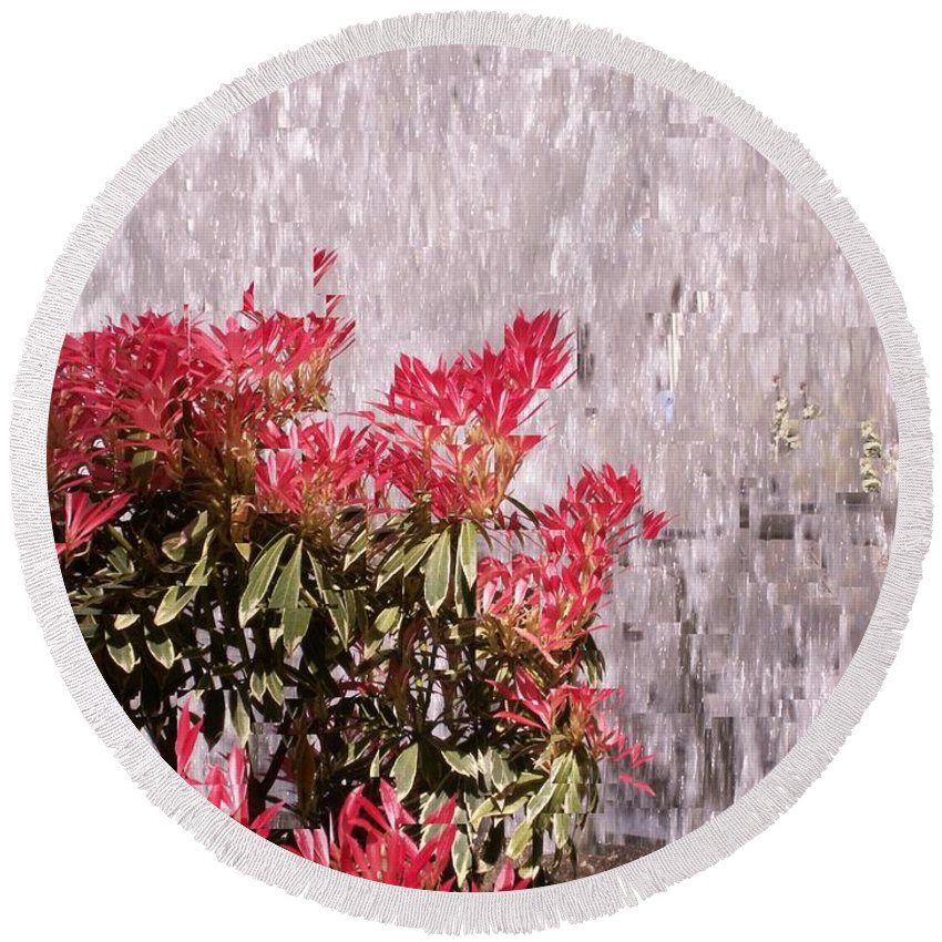 Waterfall Round Beach Towel featuring the photograph Waterfall Flowers by Tim Allen