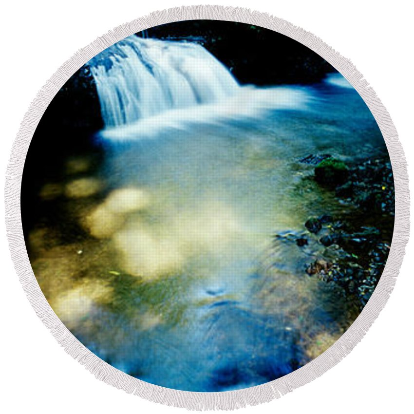 Photography Round Beach Towel featuring the photograph Waterfall Hilo Hi by Panoramic Images