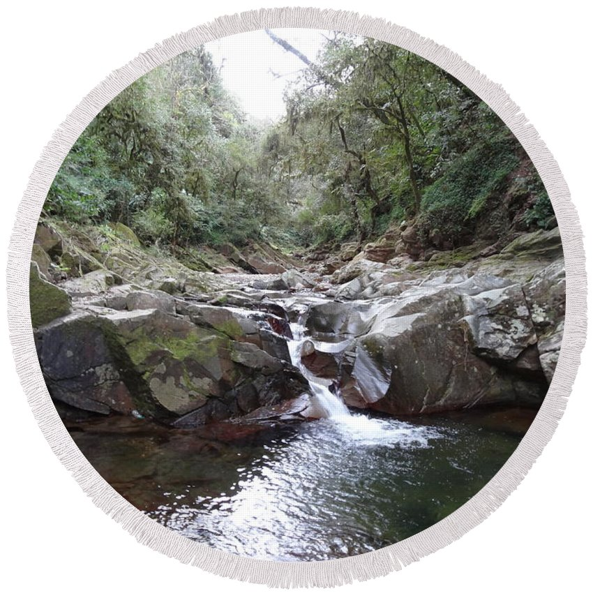 Waterfall In The Forest Round Beach Towel featuring the photograph Waterfall In The Forest by Ariel Pedraza