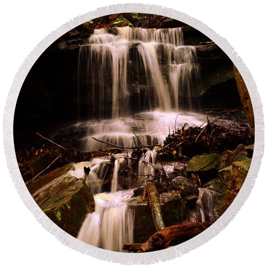 Mcconnells Mill State Park Pa Round Beach Towel featuring the photograph Waterfall Mcconnells Mills State Park by Lisa Wooten