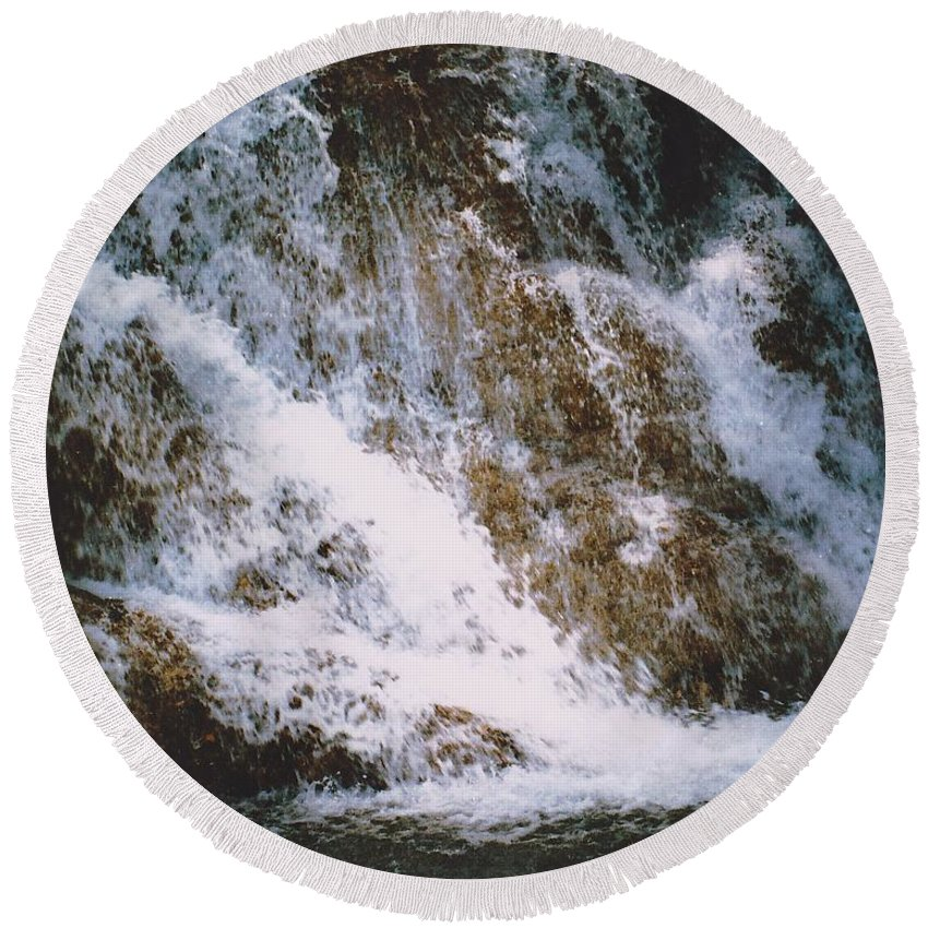 Water Round Beach Towel featuring the photograph Waterfall by Michelle Powell