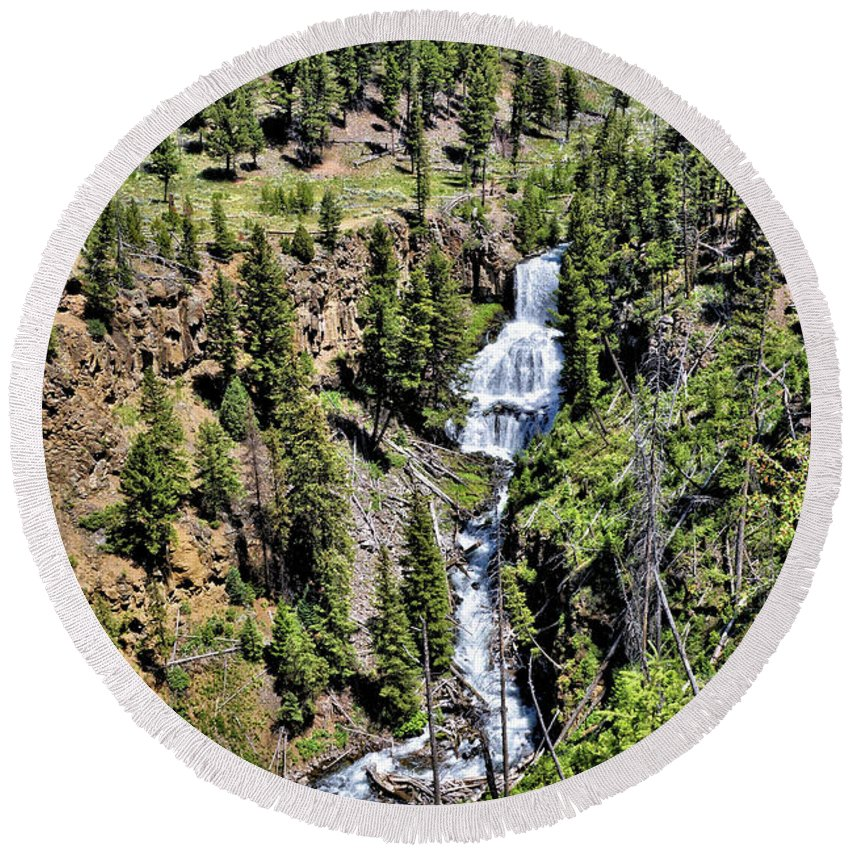 Water Round Beach Towel featuring the photograph Waterfall On Lava Creek 1 by John Trommer