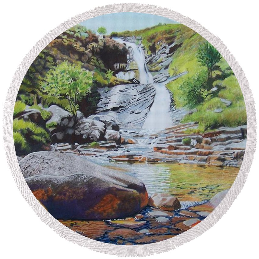 Waterfall Round Beach Towel featuring the mixed media Waterfall on Skye 2 by Constance Drescher