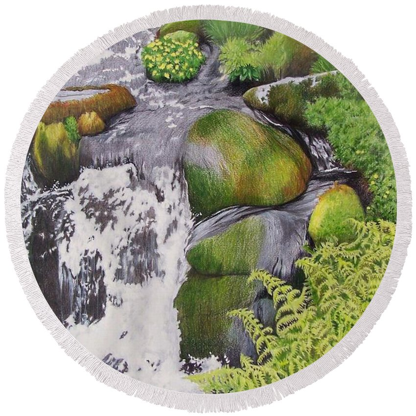 Waterfall Round Beach Towel featuring the mixed media Waterfall On Skye by Constance Drescher