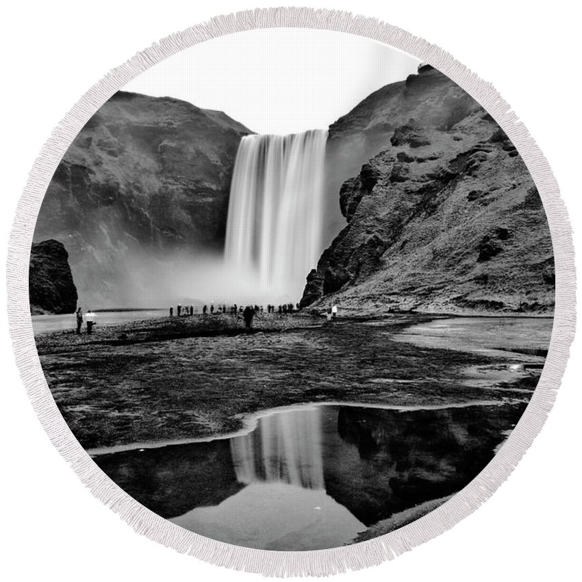 Black And White Round Beach Towel featuring the photograph Waterfall Reflections by Alex Walker