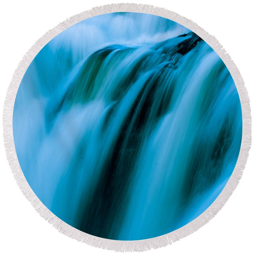 White Water Round Beach Towel featuring the photograph Waterfall Series by Sherman Perry