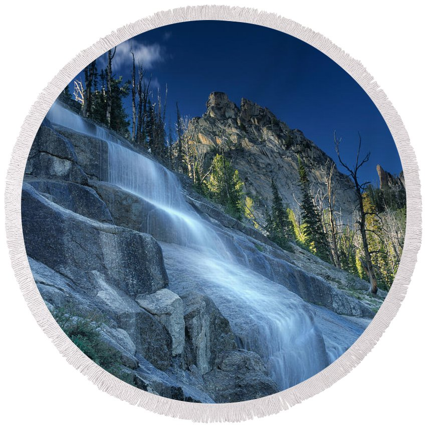 Waterfall Trail Round Beach Towel featuring the photograph Waterfall Trail by Leland D Howard