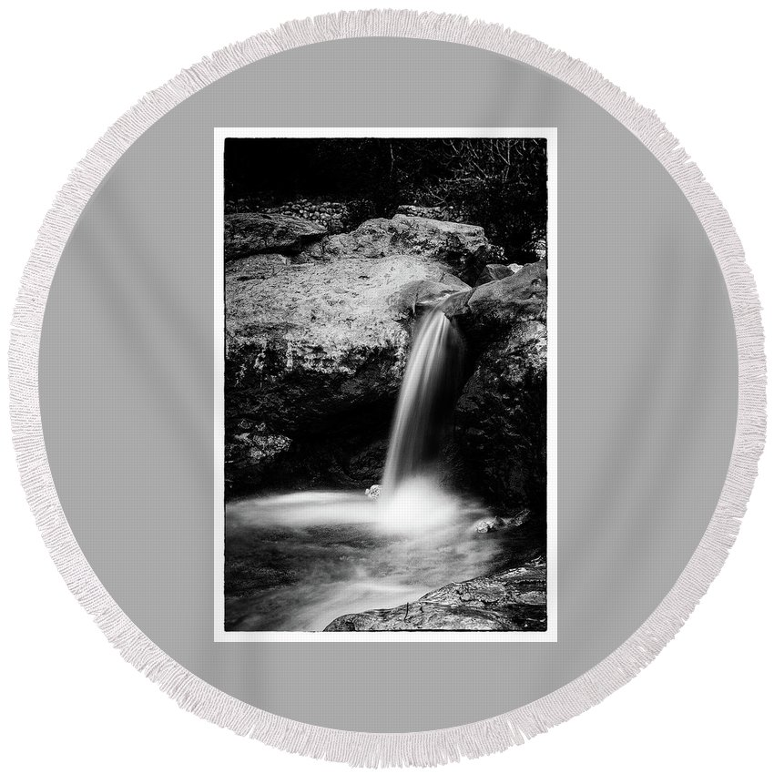 Waterfall Round Beach Towel featuring the photograph Waterfall by Yigal Hachmon