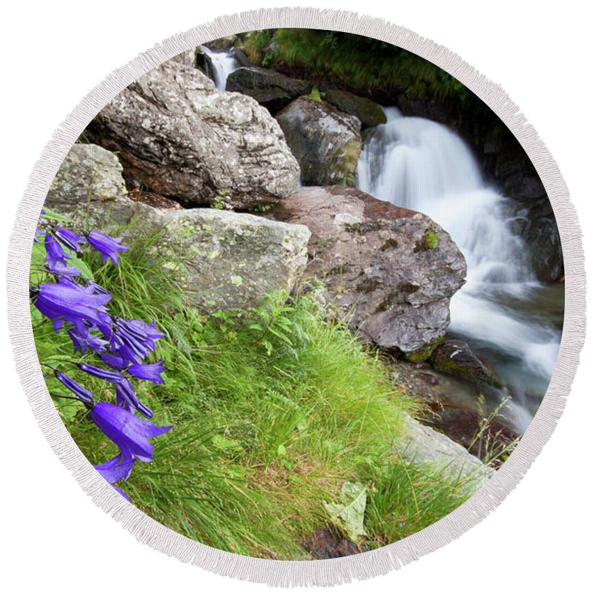 Wild Round Beach Towel featuring the photograph Waterfalls And Bluebells by Mircea Costina Photography